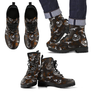 Happy Halloween Leather Boots Design HLW007 - Men's Leather Boots - Black - Halloween 2 / US5 (EU38) - Ineffable Shop