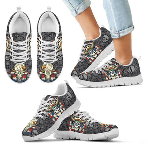 Native American Skull Kid's Running Shoes NT114 - Kid's Sneakers - White - Native American 2 / 11 CHILD (EU28) - Ineffable Shop
