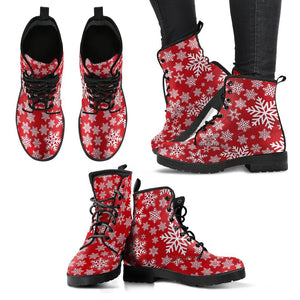 Christmas Snow Leather Boots
