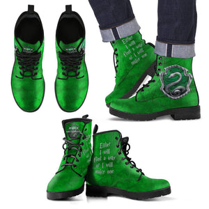 Harry Potter 4 House Men's Leather Boots HP0107 - Slytherin / US5 (EU38) - Ineffable Shop