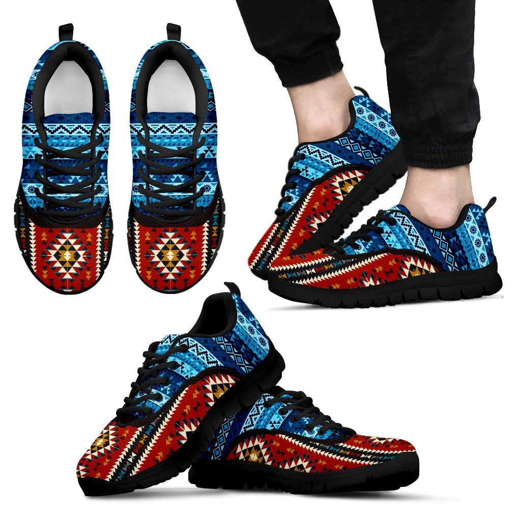 Native American Pattern Men's Costume Shoes NT096 - Men's Sneakers - Black - Native American 1 / US5 (EU38) - Ineffable Shop