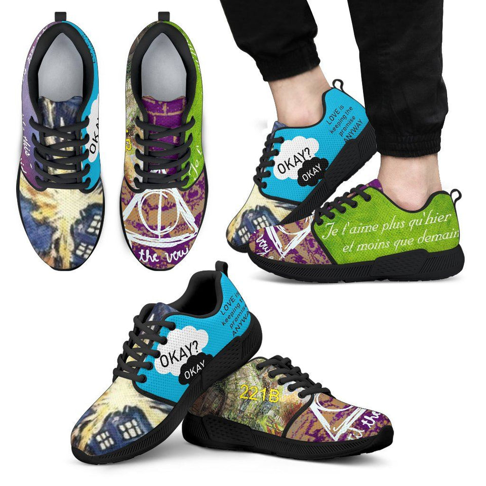 Harry Potter - Doctor Who Men's Athletic Sneakers HP0085 - Men's Athletic Sneakers - Black - 1 / US5 (EU38) - Ineffable Shop