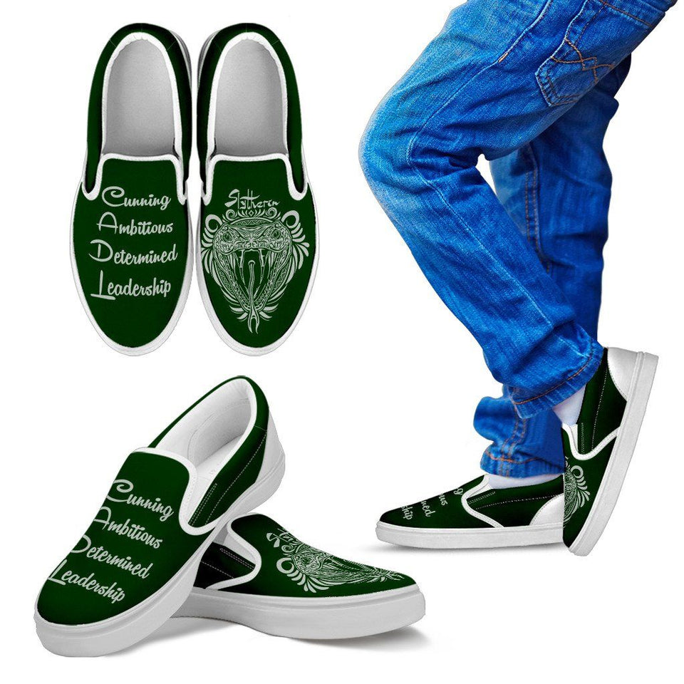 Harry Potter 4 House Kid's Slip Ons HP0056 - Slytherin - White / 11 CHILD (EU28) - Ineffable Shop