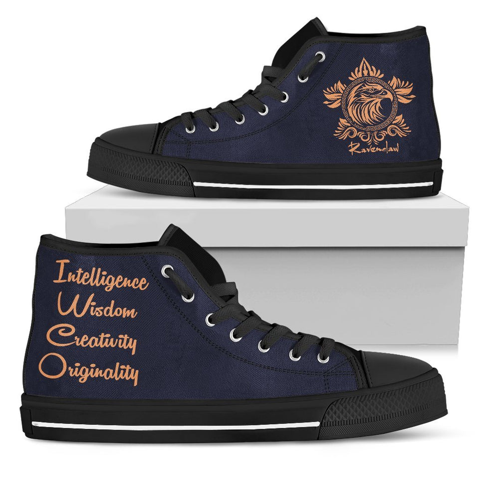 Harry Potter 4 House Women's High Top Canvas Shoe HP0050 - Ravenclaw - Black / US5.5 (EU36) - Ineffable Shop