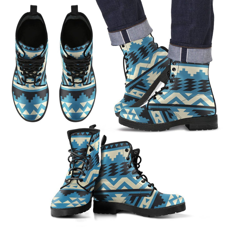 Native American Pattern Leather Boots - Men's Leather Boots - Black - Native 2 / US5 (EU38) - Ineffable Shop