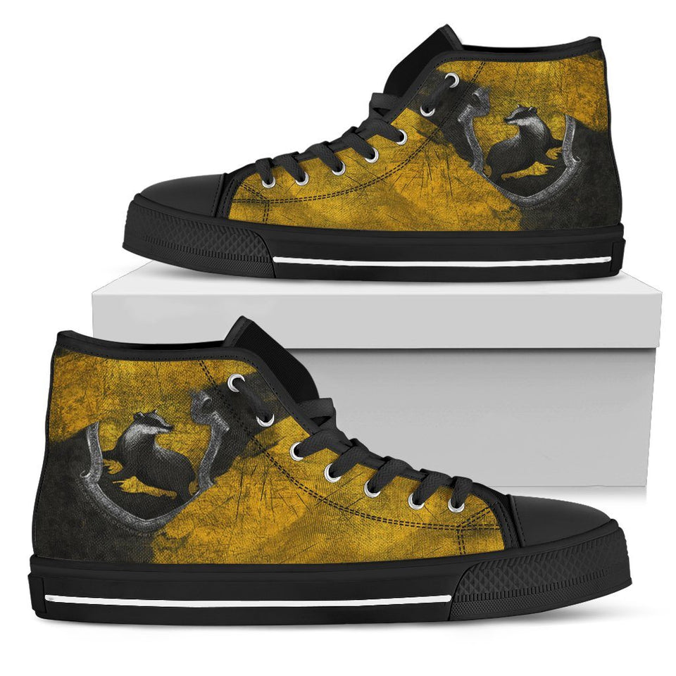 Harry Potter 4 House Women's High Top HP0122 - Hufflepuff - Black / US5.5 (EU36) - Ineffable Shop