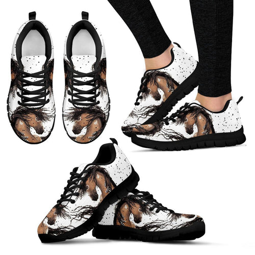 Native American Horse Women's Running Shoes NT103 - Women's Sneakers - Black - Native American 1 / US5 (EU35) - Ineffable Shop