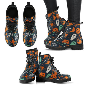 Halloween Leather Boots Design HLW005 - Women's Leather Boots - Black - Halloween 1 / US12 (EU44) - Ineffable Shop
