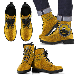 Harry Potter 4 House Men's Leather Boots HP0107 - Hufflepuff / US5 (EU38) - Ineffable Shop