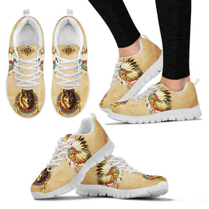Native American And Wolf Women's Running Shoes NT106 - Women's Sneakers - White - Native American 2 / US5 (EU35) - Ineffable Shop