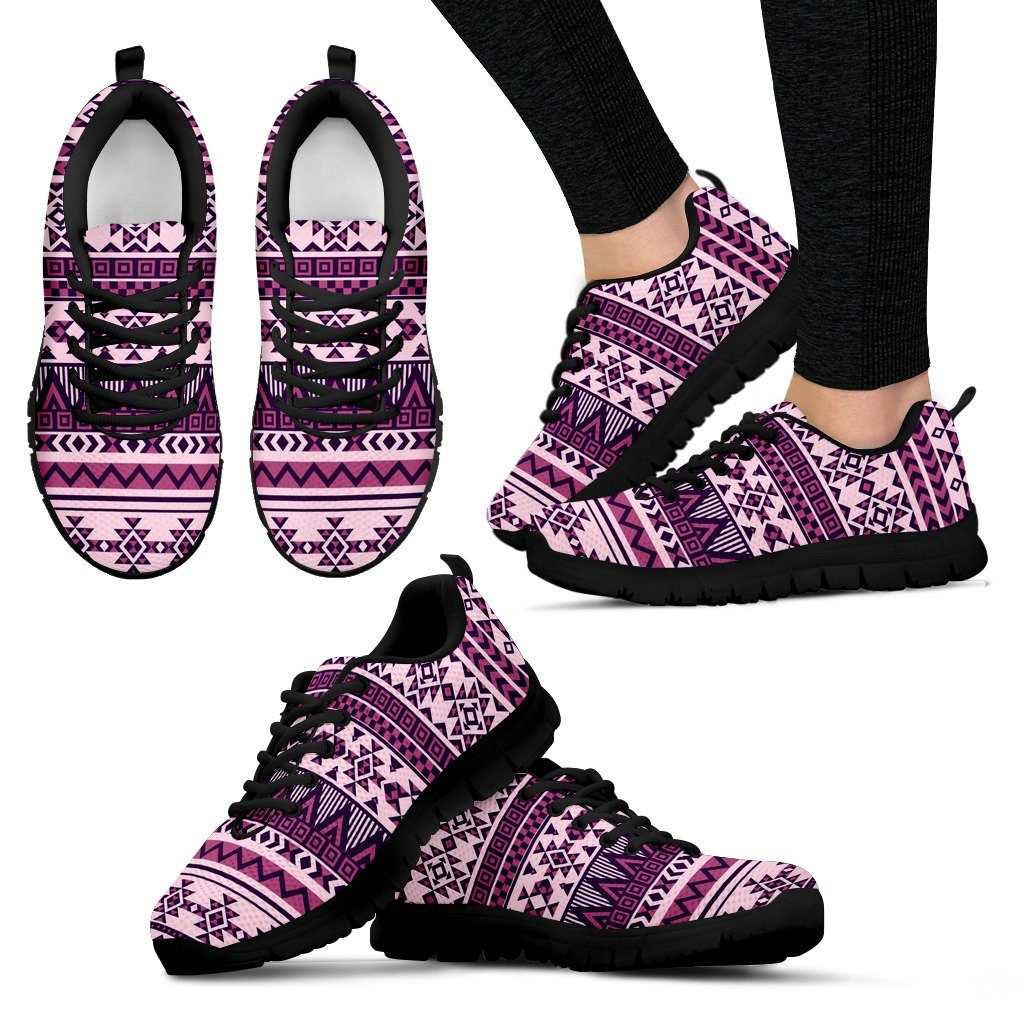 Native American Purple Pattern Women's Sneakers NT069 - Women's Sneakers - Black - Native 1 / US5 (EU35) - Ineffable Shop