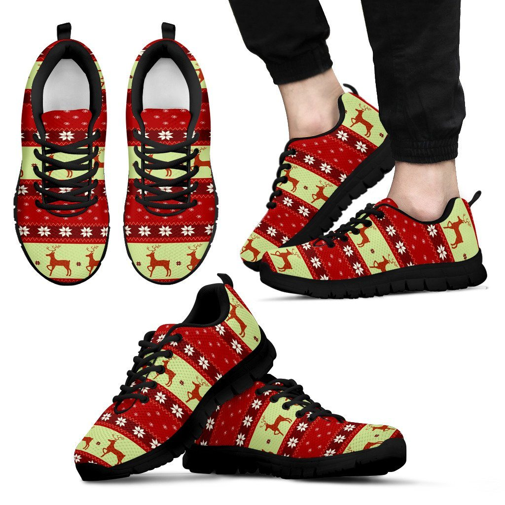 Christmas Pattern Men's Running Shoes - Men's Sneakers - Black - Christmas 1 / US5 (EU38) - Ineffable Shop