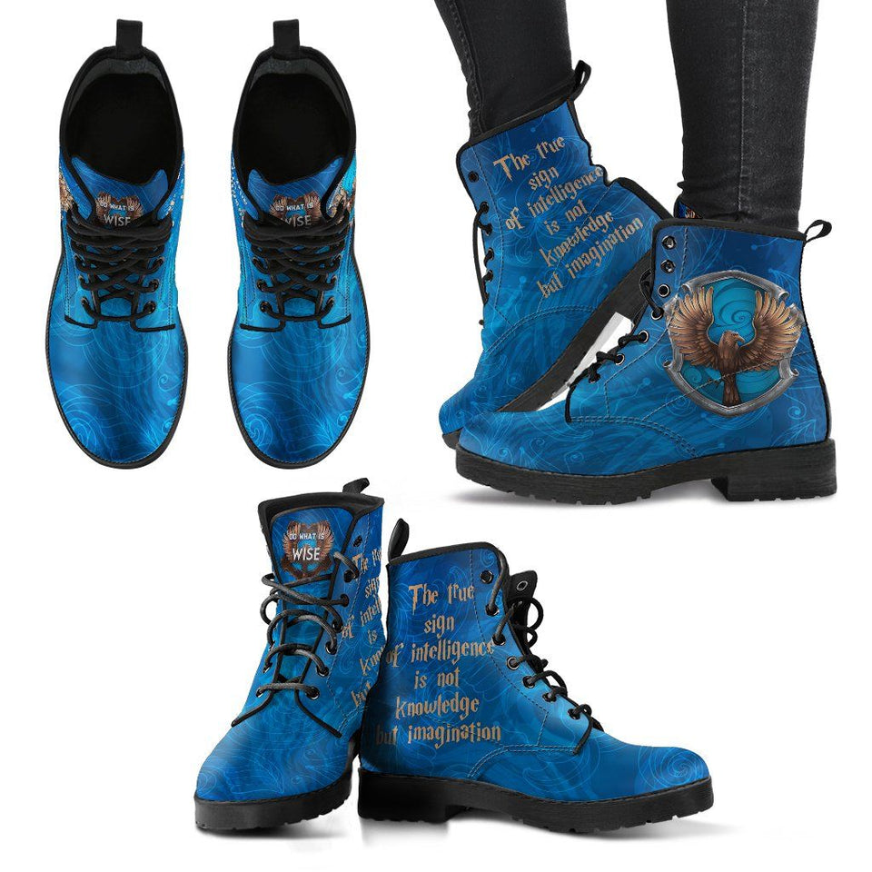 Harry Potter 4 House Women's Leather Boots HP0106 - Ravenclaw / US5 (EU35) - Ineffable Shop