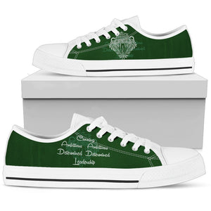 Harry Potter 4 House Men's Low Top Canvas Shoe HP0053 - Slytherin - White / US5 (EU38) - Ineffable Shop