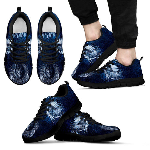 Native American Wolf Men's Running Shoes NT099 - Men's Sneakers - Black - Native American 1 / US5 (EU38) - Ineffable Shop