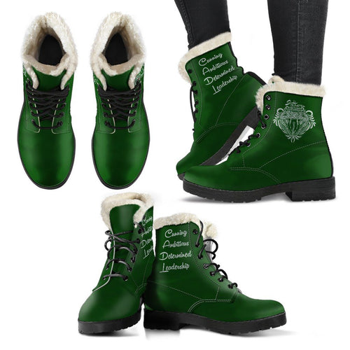 Harry Potter Style Boots - Slytherin Faux Fur Leather Boots - - Ineffable Shop