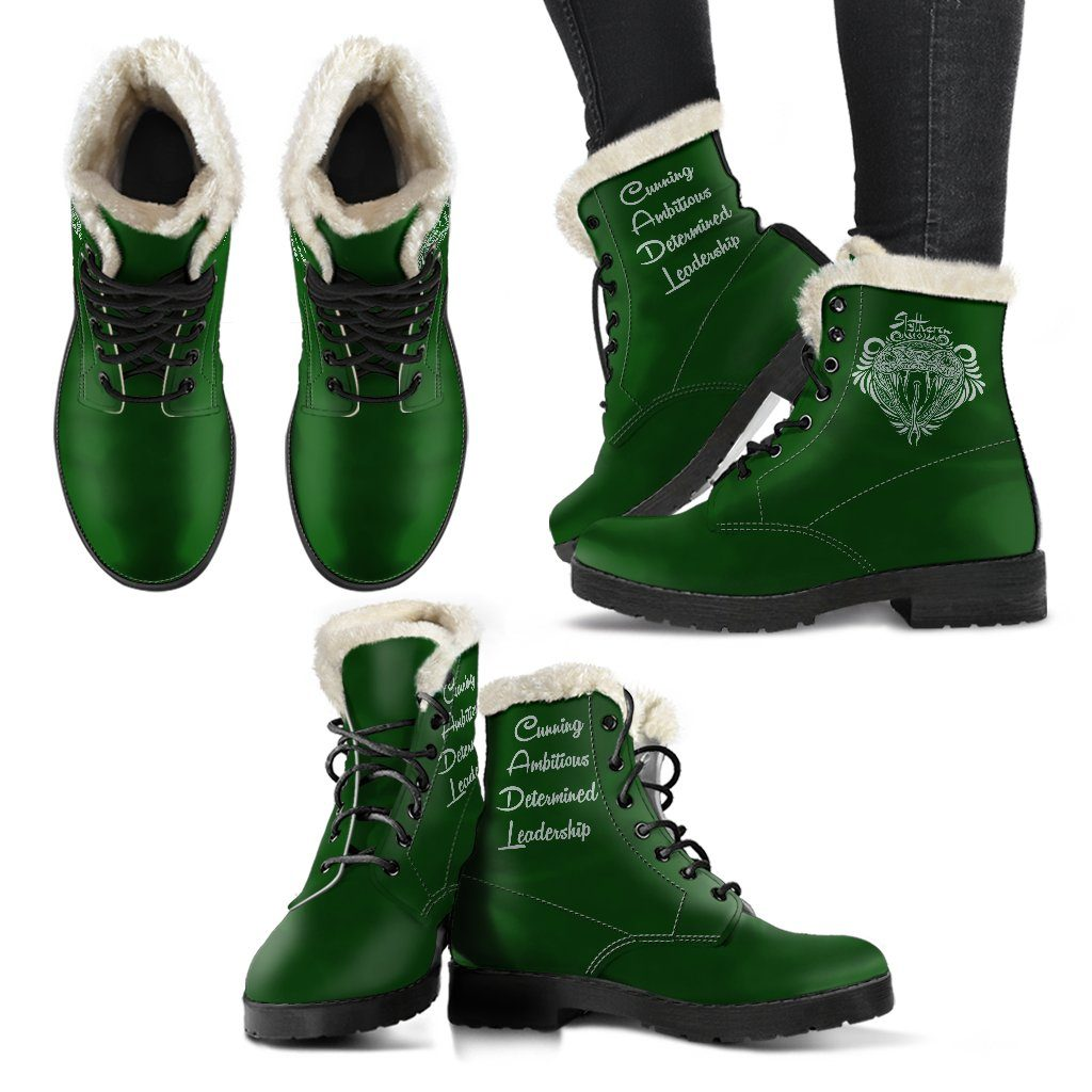 Harry Potter Style Boots - Slytherin Faux Fur Leather Boots