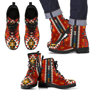 New Native American Indian Pattern Leather Boots NT004 - Men's Leather Boots - Black - Native 2 / US5 (EU38) - Ineffable Shop
