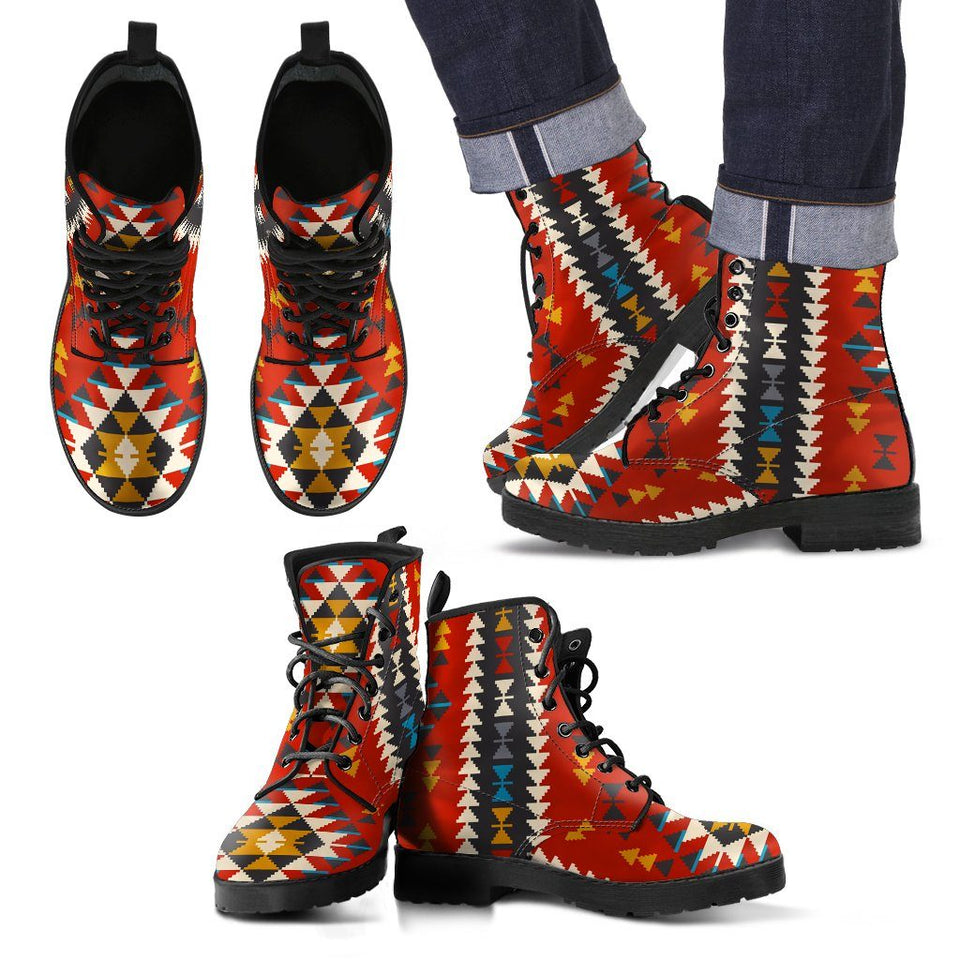 New Native American Indian Pattern Leather Boots NT004 - Ineffable Shop