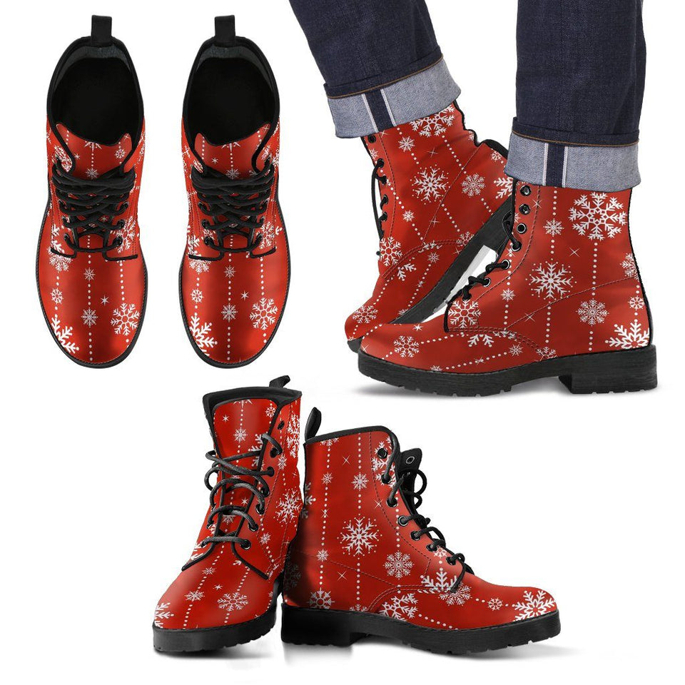 Christmas Red Leather Boots - Men's Leather Boots - Black - Christmas 2 / US5 (EU38) - Ineffable Shop