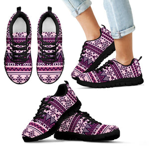 Native American Purple Pattern Kid's Sneakers NT071 - Kid's Sneakers - Black - Native 1 / 11 CHILD (EU28) - Ineffable Shop
