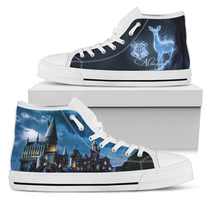 Harry Potter Hogwarts School Men's High Top Shoe HP0127 - Mens High Top - White - Harry Potter 2 / US5 (EU38) - Ineffable Shop