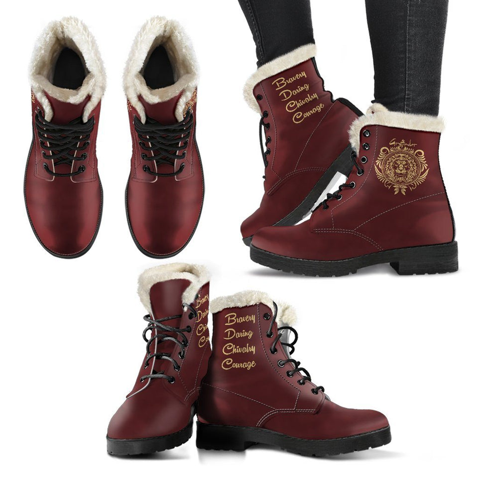 Harry Potter Style Boots - Gryffindor Faux Fur Women's Leather Boots - - Ineffable Shop