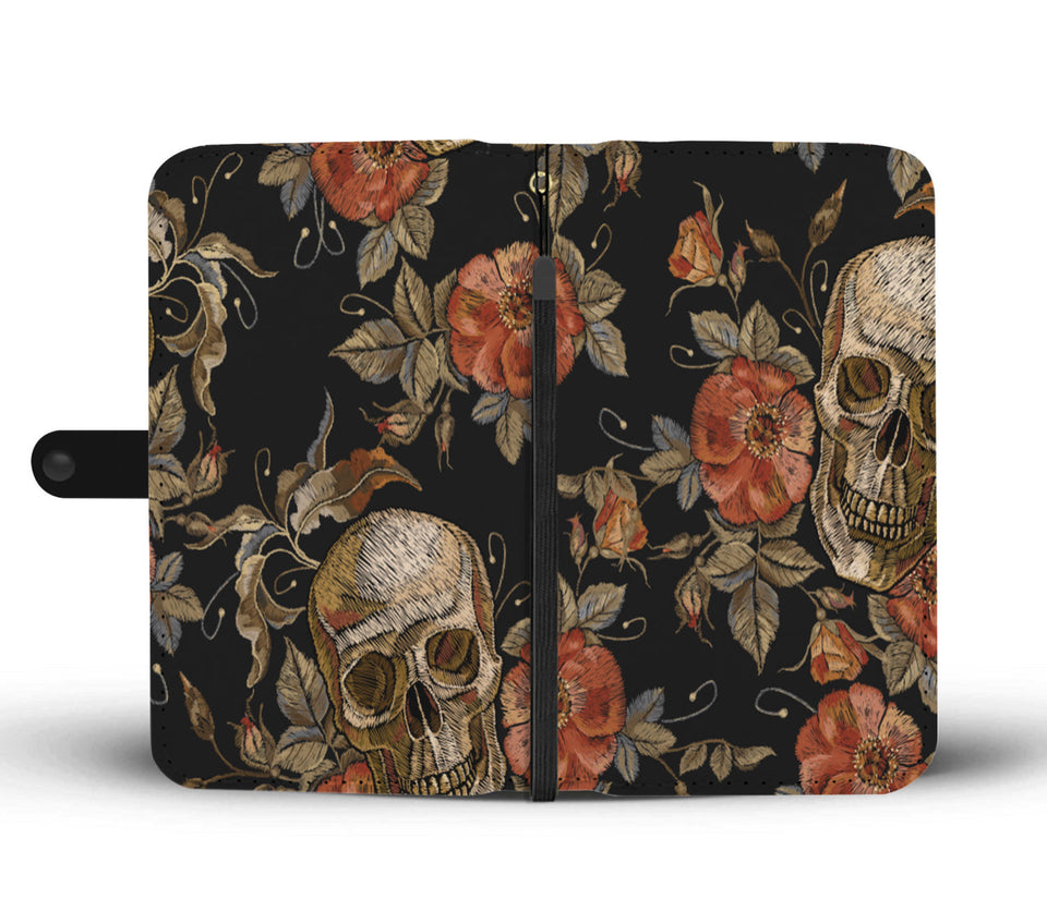 Halloween Skull Rose Wallet Case - - Ineffable Shop