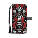 Halloween Skull And Rose Wallet Case