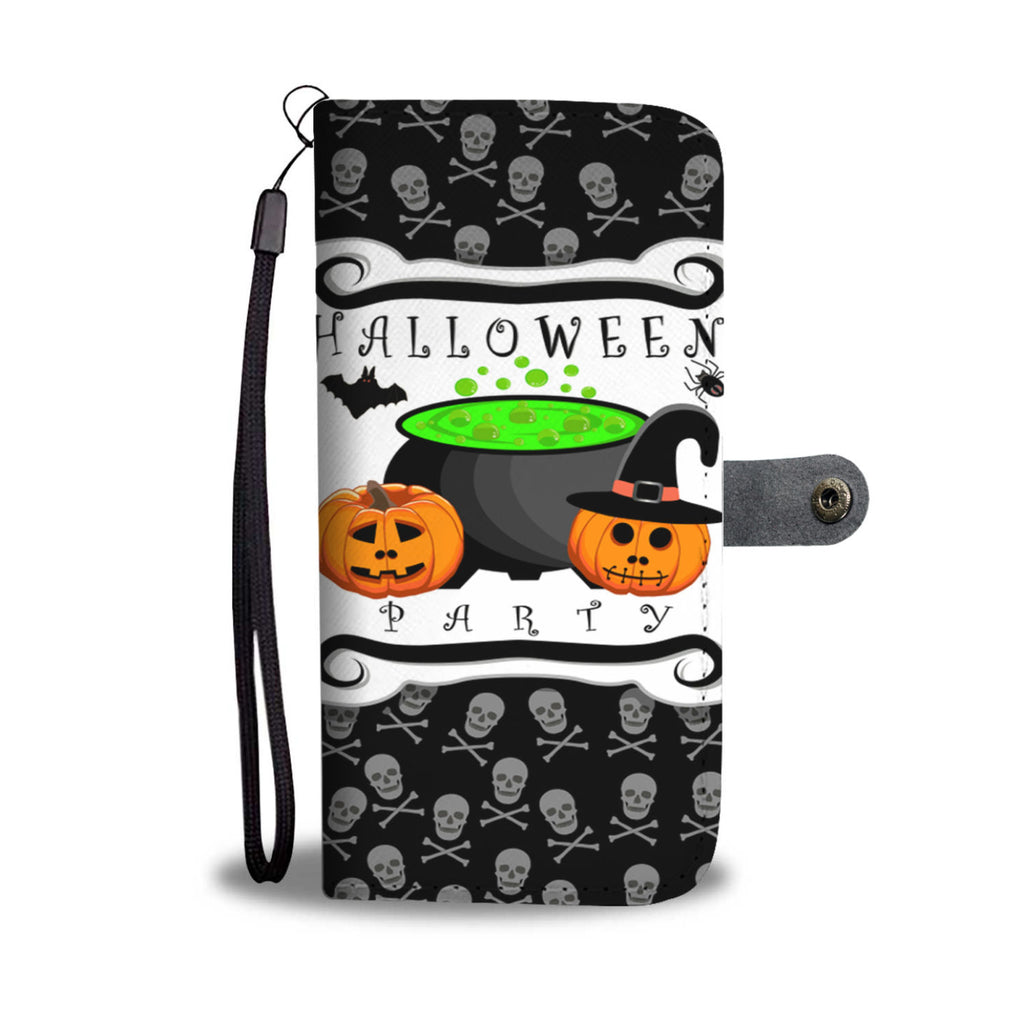 halloween party pumpkin wallet case