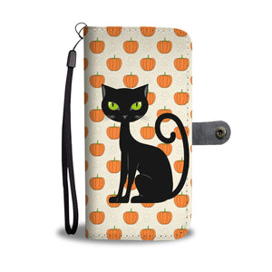 Halloween Black Cat And Pumpkin Wallet Case