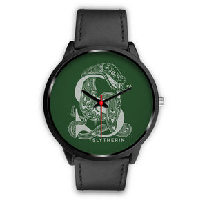 Harry Potter Slytherin Watches - HPW002 - Mens 40mm / Black Leather - Ineffable Shop