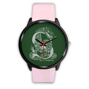 Harry Potter Slytherin Watches - HPW002 - Mens 40mm / Pink Leather - Ineffable Shop