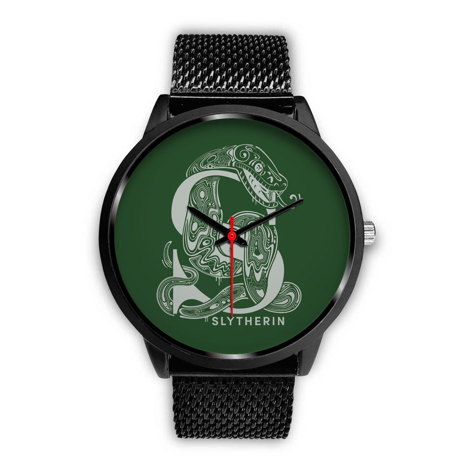 Harry Potter Slytherin Watches - HPW002 - Mens 40mm / Black Metal Mesh - Ineffable Shop