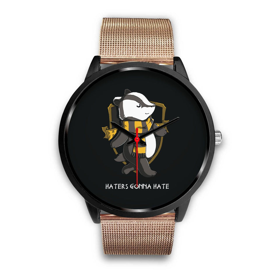 Harry Potter Hufflepuff Watches - HPW003 - Mens 40mm / Rose Gold Metal Mesh - Ineffable Shop