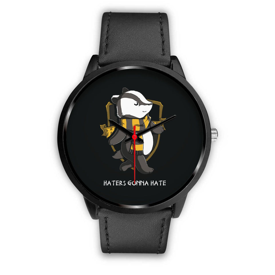 Harry Potter Hufflepuff Watches - HPW003 - Mens 40mm / Black Leather - Ineffable Shop