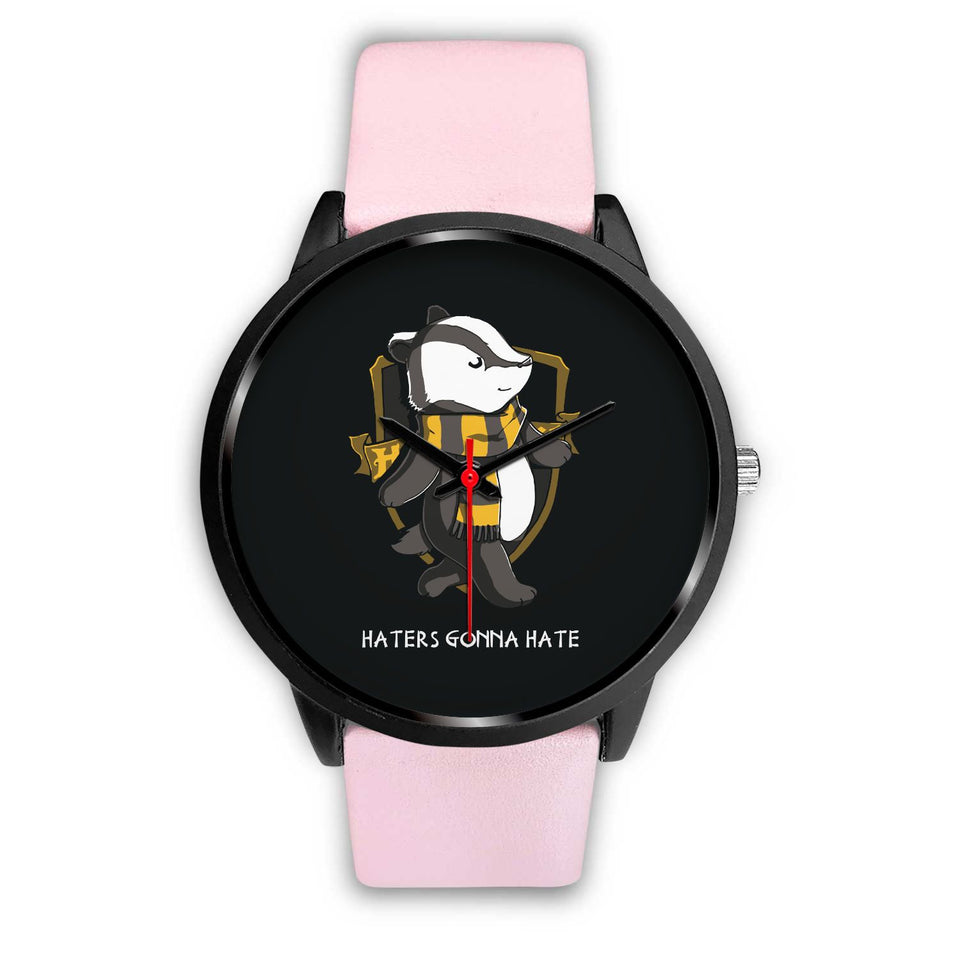 Harry Potter Hufflepuff Watches - HPW003 - Mens 40mm / Pink Leather - Ineffable Shop