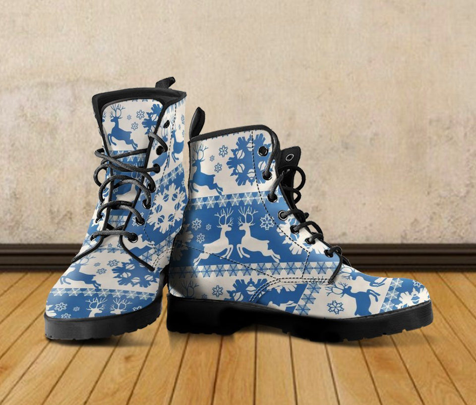 Christmas Pattern Leather Boots - - Ineffable Shop