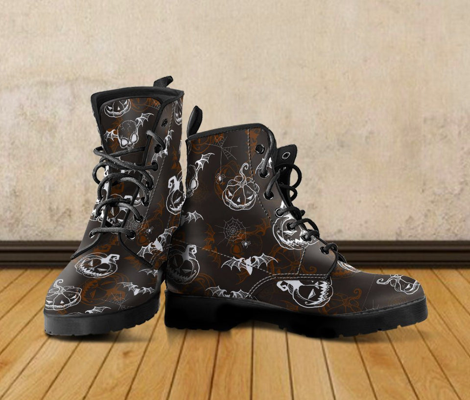Happy Halloween Leather Boots Design HLW007 - Ineffable Shop