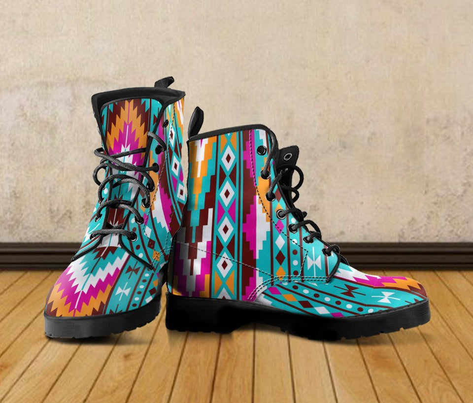 Native American Pattern Leather Boots Design NT011 - - Ineffable Shop