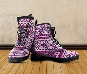 Native American Purple Pattern Leather Boots NT016 - - Ineffable Shop