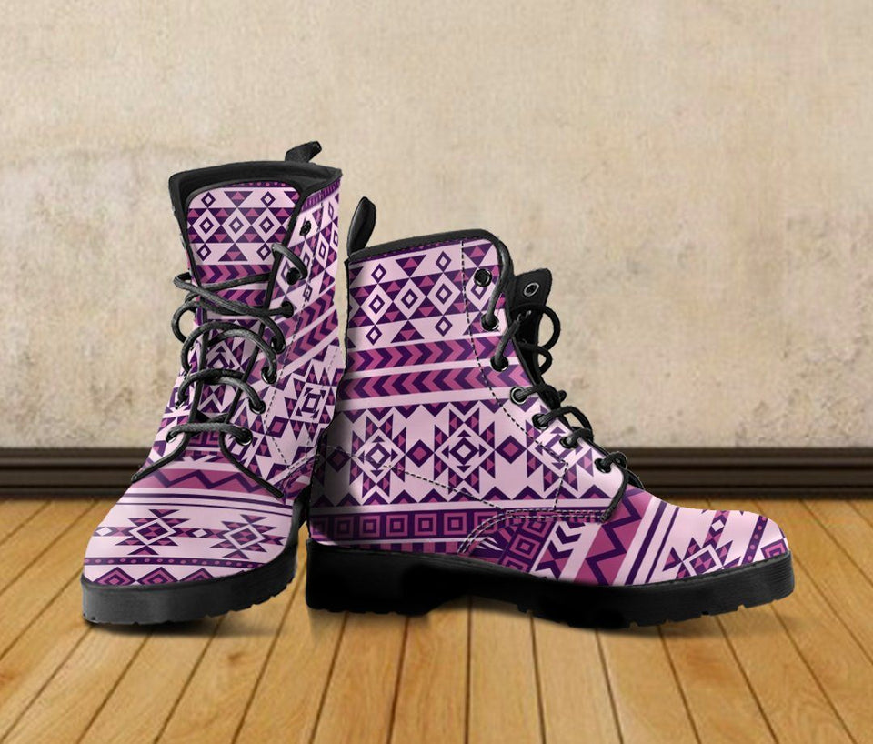 Native American Purple Pattern Leather Boots NT016 - Ineffable Shop