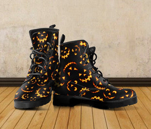 Halloween Black Cat Leather Boots HLW004 - - Ineffable Shop