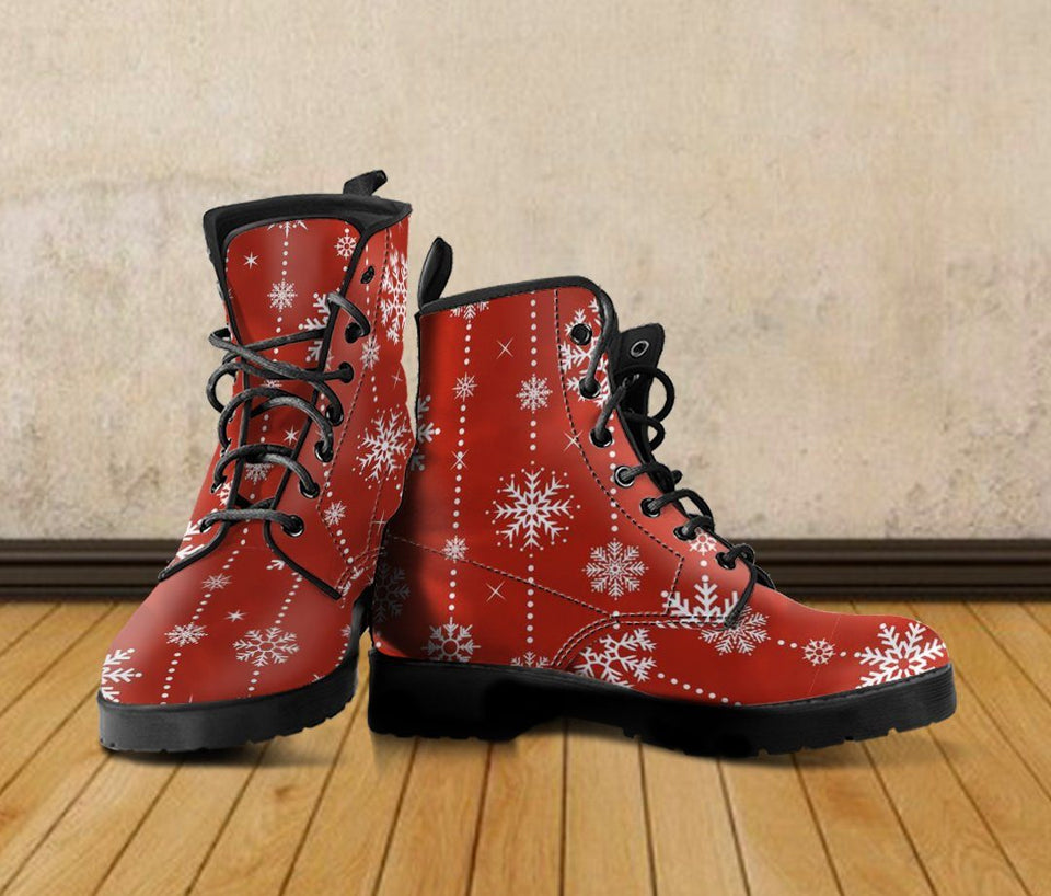 Christmas Red Leather Boots - - Ineffable Shop
