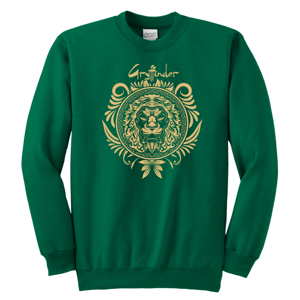 Harry Potter Vintage Gryffindor Badge Youth Crewneck Sweatshirt - Youth Crewneck Sweatshirt / Kelly Green / XS - Ineffable Shop