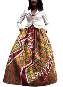 Annflat Women's African Floral Print Maxi Skirts A Line Long Skirts With Pocket(S-2XL) - Small / Multi6 - Ineffable Shop