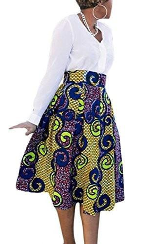 Annflat Women's African Print Knee Length Flare Skirts With Pockets - Small / Green - Ineffable Shop