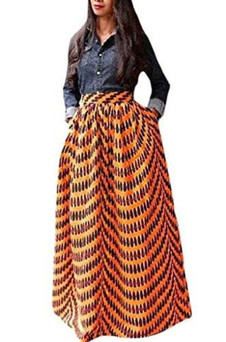 Annflat Women's African Floral Print Maxi Skirts A Line Long Skirts With Pocket(S-2XL) - Small / Red - Ineffable Shop