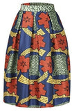 Annflat Women's African Print Knee Length Flare Skirts With Pockets - Small / Multi - Ineffable Shop