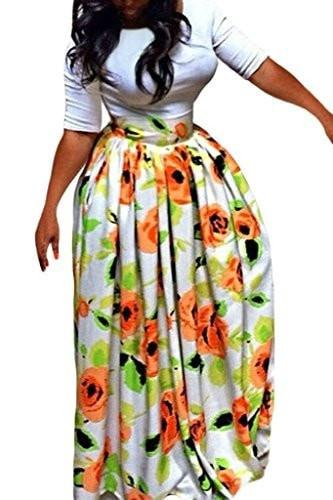 Annflat Women's African Floral Print Maxi Skirts A Line Long Skirts With Pocket(S-2XL) - Small / Multi3 - Ineffable Shop